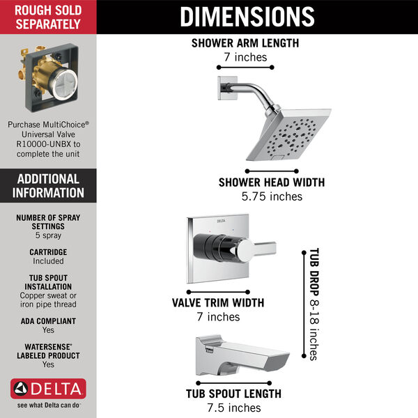 Monitor® 14 Series H<sub>2</sub>Okinetic® Tub and Shower Trim, image 3