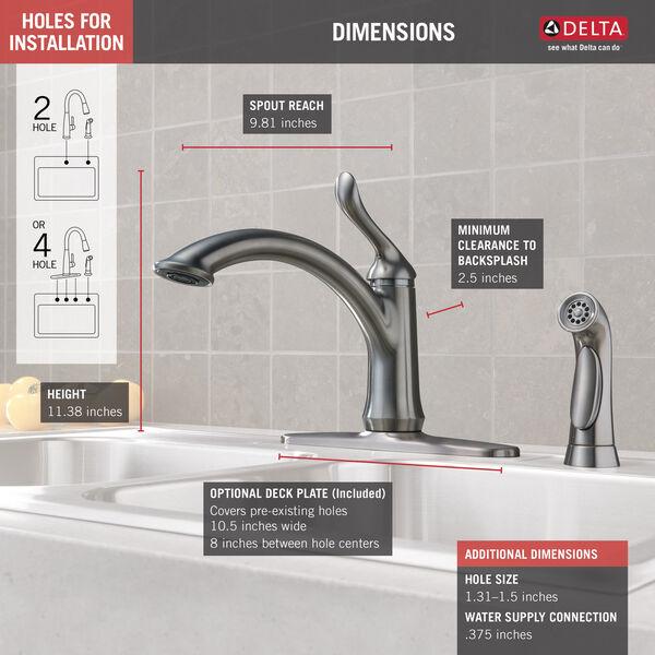 *USA 4453-DST Delta Linden Chrome 1-Handle High-Arc Kitchen Faucet /& Side Spray