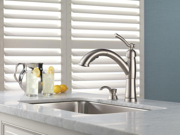 Single Handle Pull-Out Kitchen Faucet with Soap Dispenser, image 7