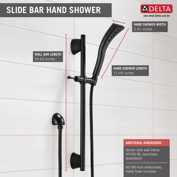 Single-Setting H2Okinetic Slide Bar Hand Shower, image 2