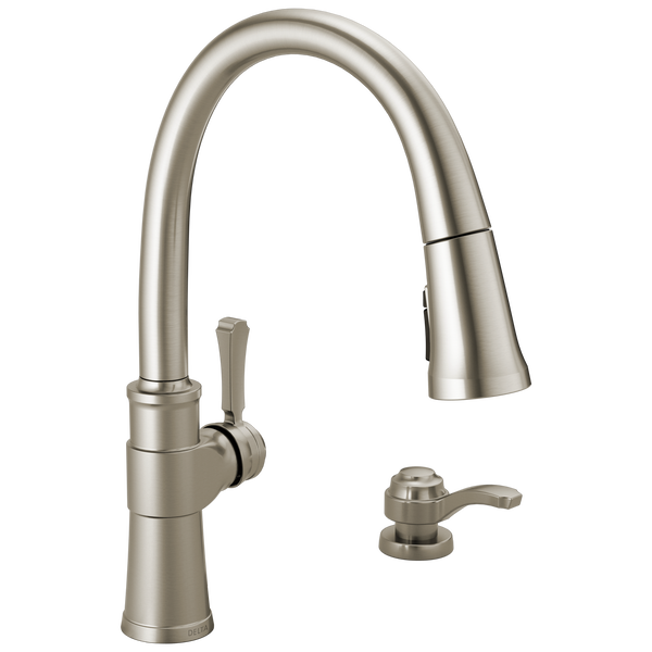 Single Handle Pull-Down Kitchen Faucet with Soap Dispenser and ShieldSpray® Technology, image 1
