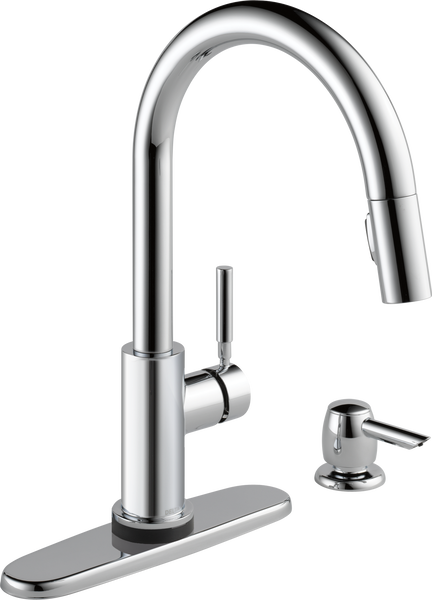 Single Handle Pull-Down Kitchen Faucet with Touch2O Technology and Soap Dispenser, image 2