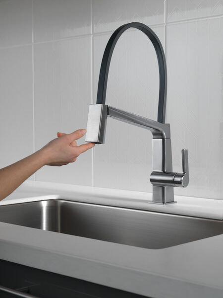 Single Handle Exposed Hose Kitchen Faucet, image 7