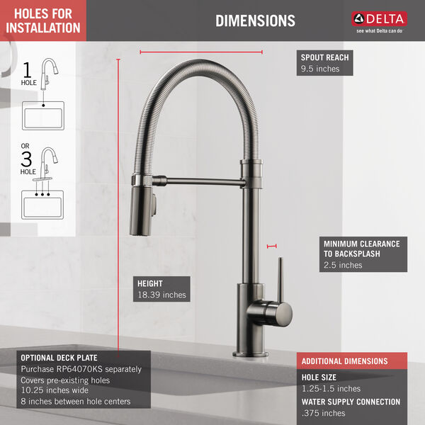 Single Handle Pull-Down Kitchen Faucet With Spring Spout, image 4