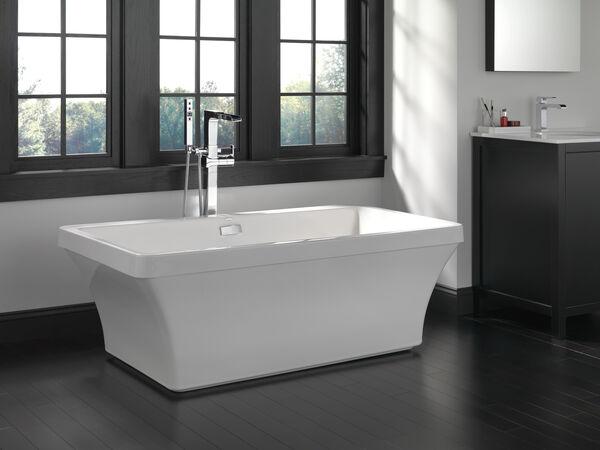 Single Handle Floor Mount Channel Spout Tub Filler Trim with Hand Shower, image 2
