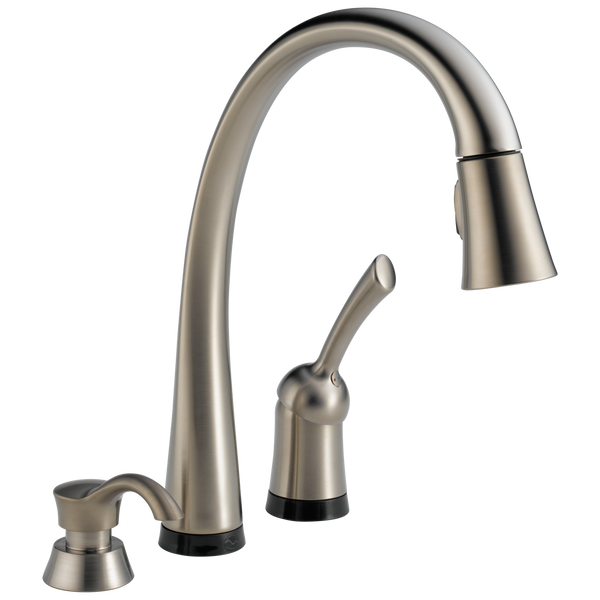Single Handle Pull Down Kitchen Faucet With Touch2o Technology And Soap Dispenser 980t Sssd Dst Delta Faucet
