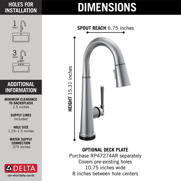 Single Handle Pull Down Bar/Prep Faucet with Touch2O Technology, image 3