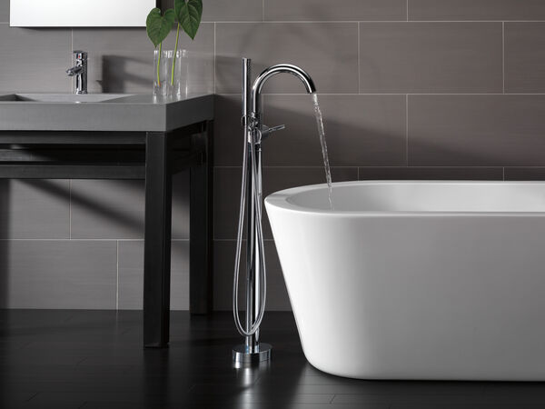 Single Handle Floor Mount Tub Filler Trim with Hand Shower, image 7