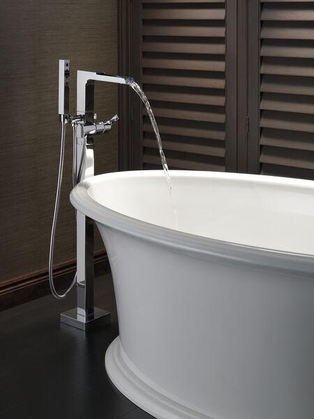 Single Handle Floor Mount Channel Spout Tub Filler Trim with Hand Shower, image 8