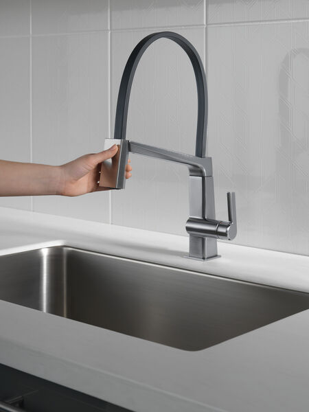 Single Handle Exposed Hose Kitchen Faucet, image 6