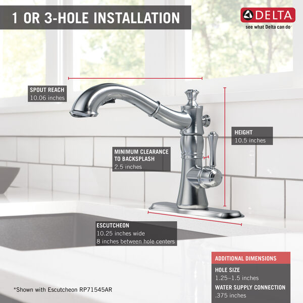 Single Handle Pull-Out Kitchen Faucet, image 3