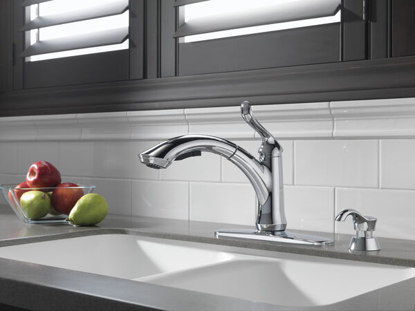 Single Handle Pull-Out Kitchen Faucet with Soap Dispenser, image 4
