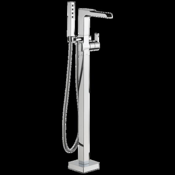Single Handle Floor Mount Channel Spout Tub Filler Trim with Hand Shower, image 1