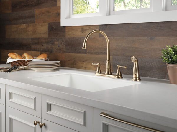 Two Handle Kitchen Faucet with Spray, image 3