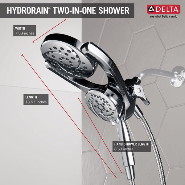 HydroRain® 4-Setting Two-in-One Shower Head, image 12