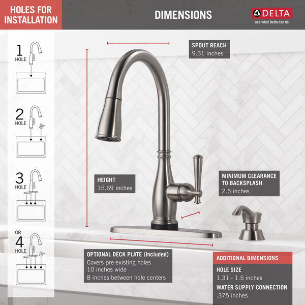 Single Handle Pull-Down Kitchen Faucet with Touch2O® and ShieldSpray® Technologies (Recertified), image 4
