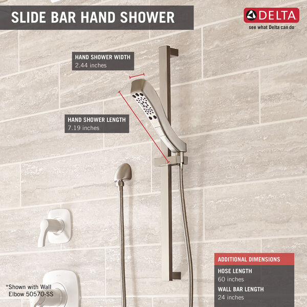 H<sub>2</sub>Okinetic® 4-Setting Slide Bar Hand Shower, image 2
