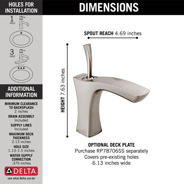 Single Handle Bathroom Faucet - Metal Pop-Up, image 3