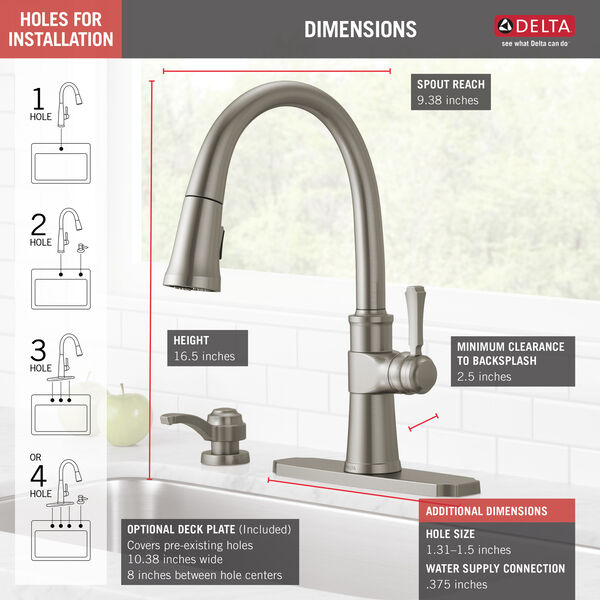 Single Handle Pull-Down Kitchen Faucet with Soap Dispenser and ShieldSpray® Technology, image 4