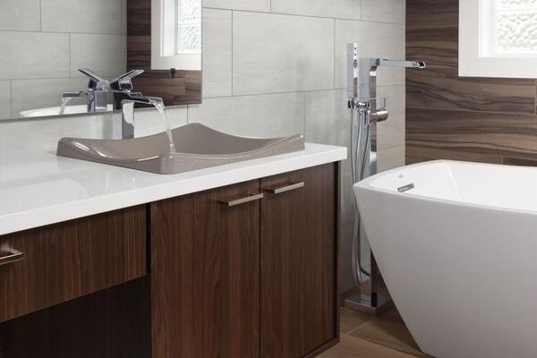 Single Handle Floor Mount Channel Spout Tub Filler Trim with Hand Shower, image 4