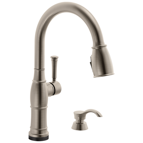 Single Handle Pull-Down Kitchen Faucet with Touch2O Technology and Soap Dispenser, image 1