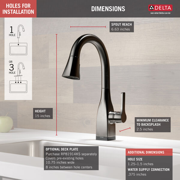 Single Handle Pull-Down Bar/Prep Faucet with Touch, image 3