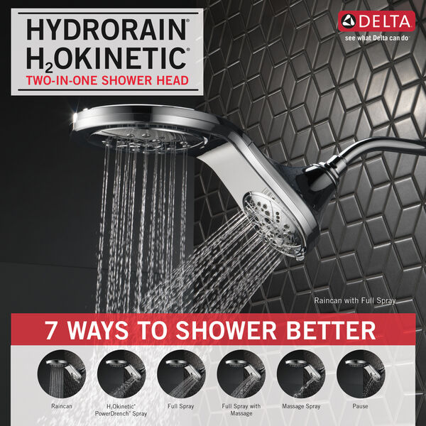 HydroRain® H<sub>2</sub>Okinetic® In2ition® 5-Setting Two-in-One Shower, image 5