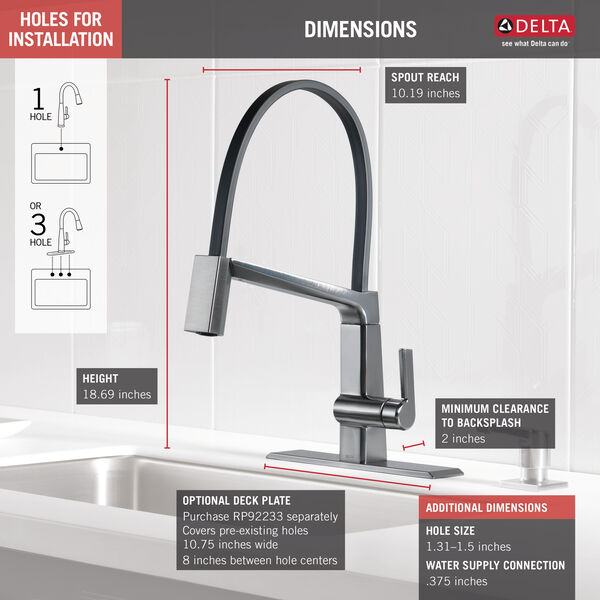 Single Handle Exposed Hose Kitchen Faucet, image 3