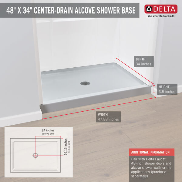 "ProCrylic™ 48"" x 34"" Shower Base, image 3"