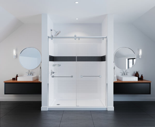 Contemporary Corner Shelf with Assist Bar, image 5