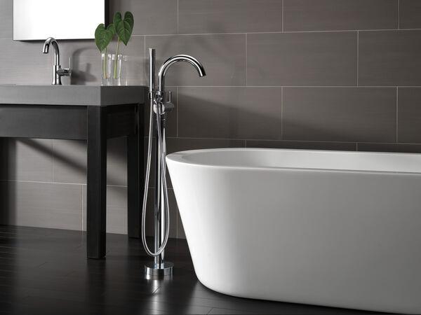 Single Handle Floor Mount Tub Filler Trim with Hand Shower, image 4