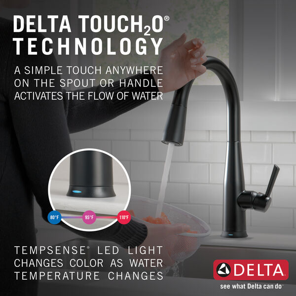 Single Handle Pull Down Kitchen Faucet With Touch2o Technology 9113t Bl Dst Delta Faucet