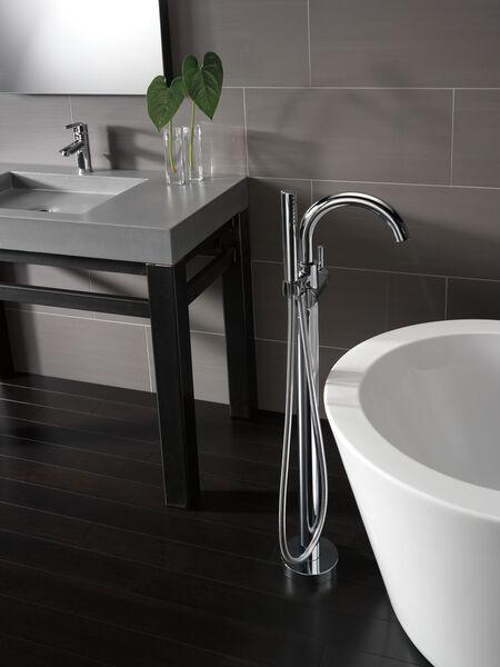 Single Handle Floor Mount Tub Filler Trim with Hand Shower, image 8