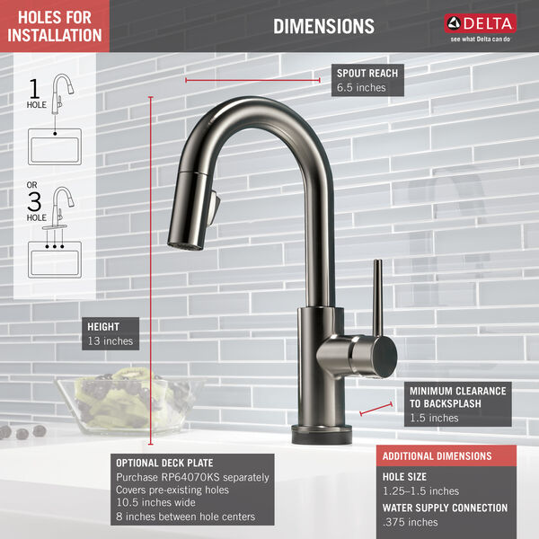Single Handle Pull-Down Bar/Prep Faucet with Touch, image 2
