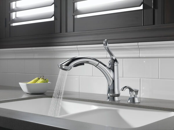 Single Handle Pull-Out Kitchen Faucet with Soap Dispenser, image 5