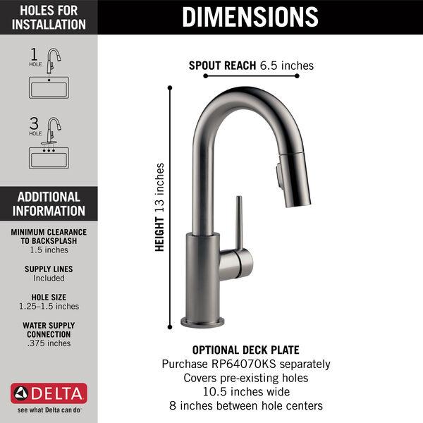 Single Handle Pull-Down Bar/Prep Faucet, image 2