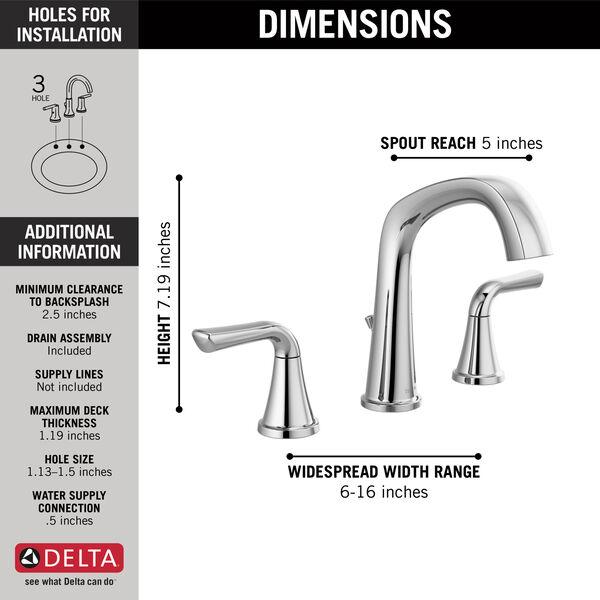 Two Handle Widespread Bathroom Faucet, image 2