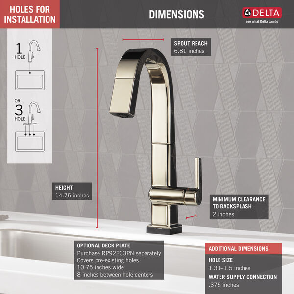 Single Handle Pull Down Bar/Prep Faucet With Touch<sub>2</sub>O Technology, image 2
