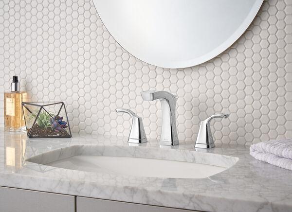 Two Handle Widespread Bathroom Faucet - Metal Pop-Up, image 2