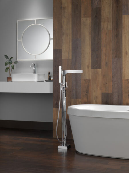 Single Handle Floor Mount Tub Filler Trim with Hand Shower, image 9