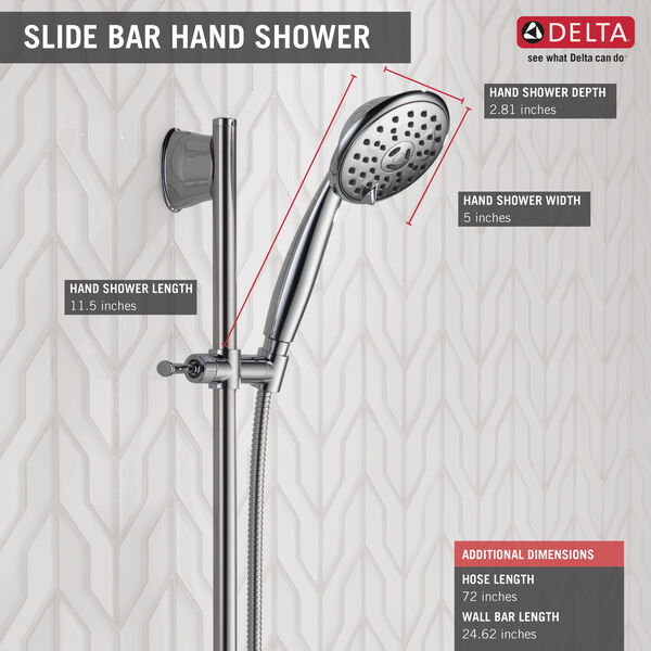 3-Setting Wall Bar Hand Shower, image 3
