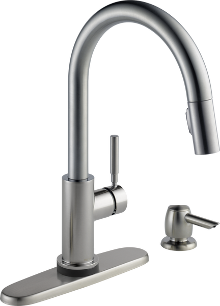 Single Handle Pull-Down Kitchen Faucet with Touch2O® Technology and Soap Dispenser, image 2