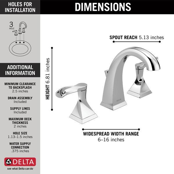 Two Handle Widespread Bathroom Faucet, 3 Piece Bathroom Faucet