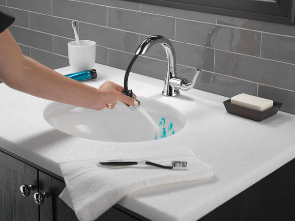 Single Handle Pull-Down Bathroom Faucet, image 9