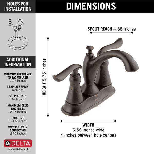 Two Handle Centerset Bathroom Faucet, image 3