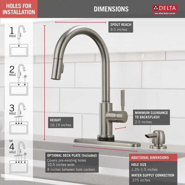 Single Handle Pull-Down Kitchen Faucet with Touch2O® Technology and Soap Dispenser, image 4