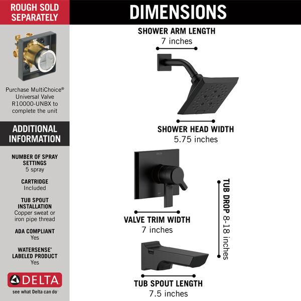 Monitor® 17 Series H<sub>2</sub>Okinetic® Tub and Shower Trim, image 3