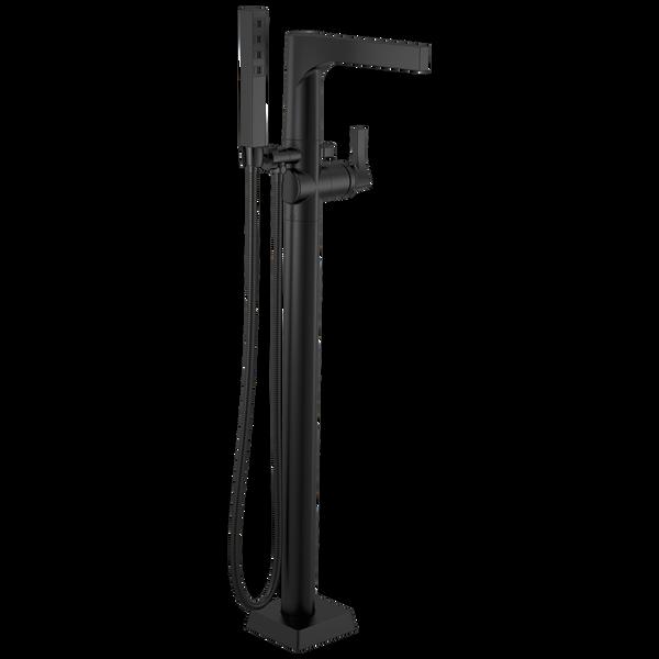 Single Handle Floor Mount Tub Filler Trim with Hand Shower, image 1
