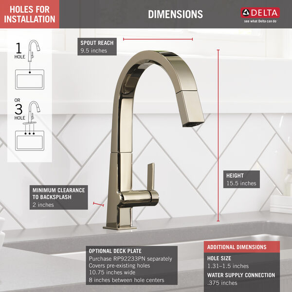 Single Handle Pull Down Kitchen Faucet, image 2