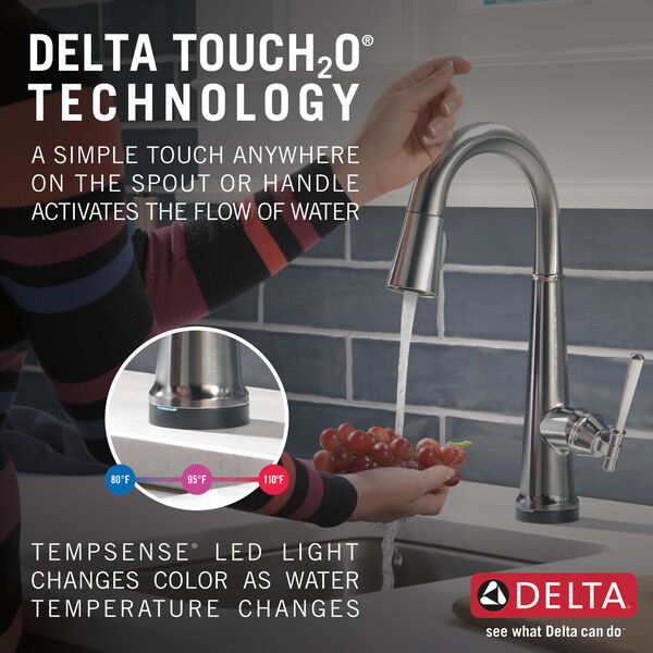 Single Handle Pull Down Bar/Prep Faucet with Touch2O Technology, image 9